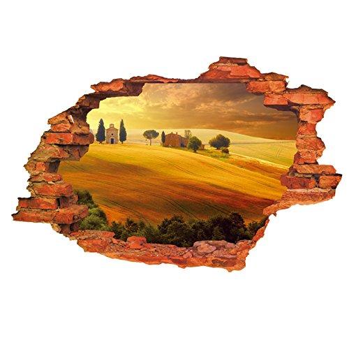 HL-PYL Die Dreidimensionale Landschaft Gemalt - Wüste Dorf Wohn - Und Schlafzimmer Wand Dekoration Mauer - Aufkleber Von Papier Aufkleber Geklebt