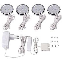 EFKS Luces Para Armarios LED, Pack de 4, 4W 360 lumen, Blanco Frío Moderno Lámpara de Techo Lámpara de Techo Pasillo Salón Cocina Dormitorio de La Lámpara Ahorro De Energía De Luz (Blanco Cálido)