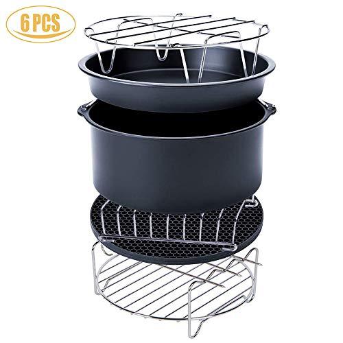 Accesorios para la freidora de aire, kits universales de accesorios, con la forma por el pastel/cacerola por la pizza/apoyo metálico/asador de espetón/forma para el pan/tapete de silicona