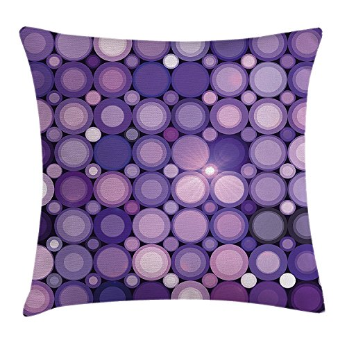 Modern Decor Throw Pillow Cushion Cover, Geometrical Violet Circles Round Disco Inspired Design Artwork, Decorative Square Accent Pillow Case,Purple Lilac and Baby Pink 18X18 inches