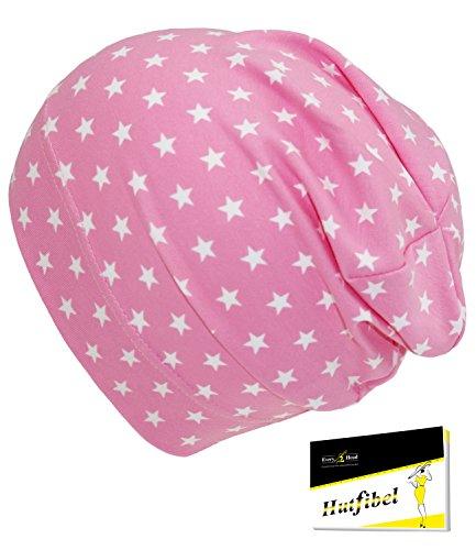 Fiebig Jungenbeanie Jerseybeanie Sommerbeanie Beanie Jerseymütze Sommermütze Baby zweifarbig mit Sternchen für Kinder (FI-87280-S17-JU4-74-45/47) in Rose, Größe 45/47 inkl. EveryHead-Hutfibel