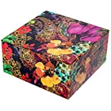 Scrafts Multicolor Floral Print Big Wooden Box/Multipurpose Jewellery/Accessories/Gift/Keepsake/Cosmetics/ Men's Cufflinks/ Tie Clip Clasp/Rings Storage Cabinet/Box/ Organizer/ Trumpet Chest /Container/Case/Home Décor/Size: LBH(Inches)=7x7x3.5