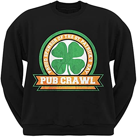 St Patricks Day Pub Crawl Adult Black Crew Neck Sweatshirt - Felpa - Uomo