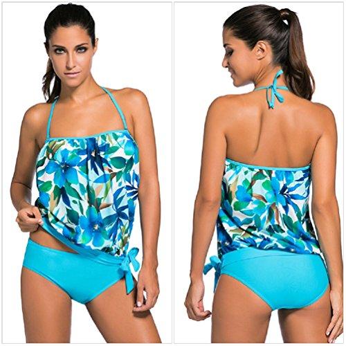 Nicetage Damen Bandeau Tankini Bikini Set Figurbetont Badeanzug Push Up Zweiteilig Bademode Swimsuit Blau01