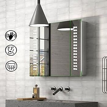 Schindora LED Lights Illuminated Bathroom Cabinet Mirror With Sensor Demister And Shaver