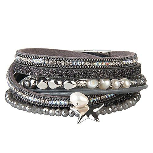 JOYMIAO Leder Seil geflochten Armband Kristall Perle Charme Leder Armbänder Multi-Layer-Leder Wrap Manschette Armreif mit Magnetverschluss für Frauen (Grau) - Leder Perlen-wrap Und Armband