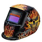 Questquo Solar Auto Darkening Welding Helmet Tig Mask Grinding Welding Mask Yellow Skeleton Chain Pattern
