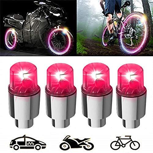 Shinsaky Luci a Disco a LED - Tappo parapolvere per Pneumatici per Ruote Auto, paracolpi, Sicurezza, Impermeabile, Movimento attivato, luci a Raggio di Razze Valvole (4 Paia -Rosso)