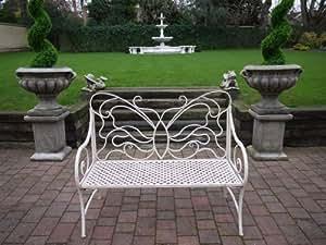 Cream Wrought Iron Garden Bench~ Butterfly Garden Bench