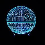 Wmshpeds Star Wars Todesstern Bunte 3D-Leuchten LED-Acryl Visuelle Stereo-Licht USB-Basisfernfarbwechsel Tischlampe