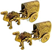 TAZBI Home Decorative Brass Camel Cart Handicraft (Set of 2)