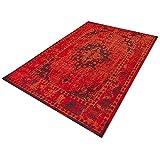 Floordirekt Vintageteppich Robuster Wohnzimmerteppich in 4 Farben für eine schicke Inneneinrichtung (Rot, 160 x 230 cm)