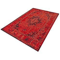 casa pura Floordirekt Vintageteppich Robuster Wohnzimmerteppich in 4 Farben für eine schicke Inneneinrichtung (Rot, 120 x 170 cm)