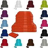 Handtuch Sets Frottier 500g/m2 in vielen Größen und Farben, sowie 10er Sparpack, 100% Baumwolle, 4 Handtücher, 2 Duschtücher, 2 Gästetücher, 2 Waschhandschuhe Terra
