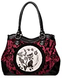 Banned Apparel Phoenix Cat Kitty Floral Flocked Rockabilly Handbag