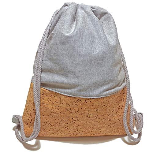 Turnbeutel - Grau Kork - Rucksack aus Sweat und Kork | Handarbeit | 3 Größen verfügbar | Tasche Sportbeutel Gym Bag Jutebeutel Beutel