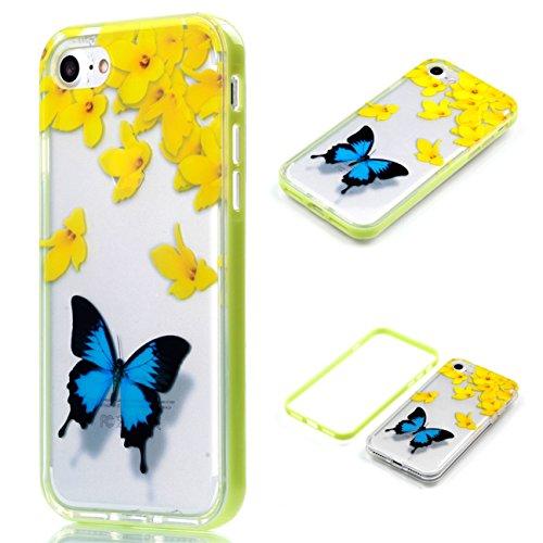 Apple iPhone 8 4.7 Hülle, Voguecase Schutzhülle / Case / Cover / Hülle / 2 in 1 TPU Gel Skin (lächelndes Gesicht 02) + Gratis Universal Eingabestift Gelbe Blumen/Schmetterlinge
