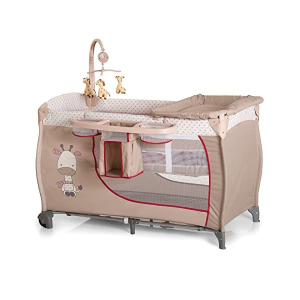 Hauck Baby Centre Travel Cot with Folding Mattress, Giraffe/Beige (Bassinet, Changing Top, Nappy Station and Cot Mobile) Hauck Distinctive travel cot complete with accessories. Age recommended: From birth to 9 kg Bassinet unit included to raise the sleeping position Includes clip on changing table 1