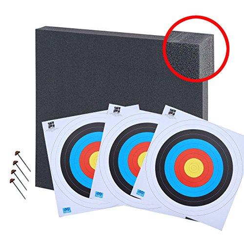 Zielscheibe 80x80 bis 50lbs Zielscheibenset mit 3 Auflagen und 4 Scheibennägeln