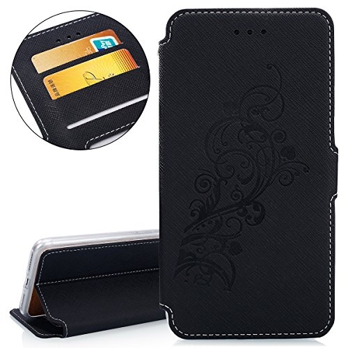 Custodia per Apple iPhone 7 Plus, ISAKEN iPhone 7 Plus Flip Cover con Strap, Elegante Sbalzato Embossed Design in Pelle Sintetica Ecopelle PU Case Cover Protettiva Flip Portafoglio Case Cover Protezio Vine: nero