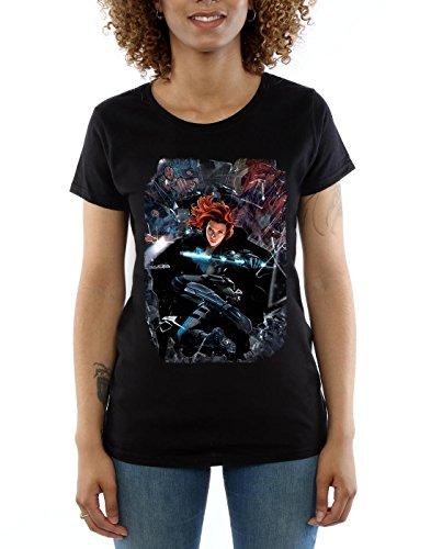 Marvel Captain America Civil War Black Widow Breakout, T-Shirt Femme Noir