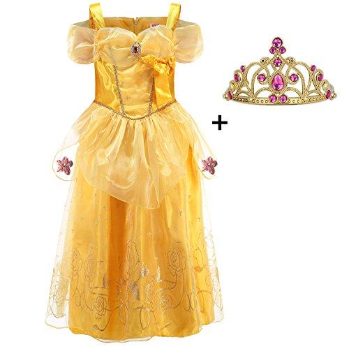 LiUiMiY Mädchen Prinzessin Kleid mit Diadem - Partei Halloween Karnevals Kostüm Cosplay Weihnachten Geschenk Gelb (Babys Kostüme Einzigartige Halloween)