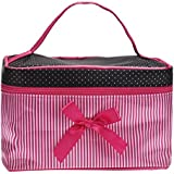 NOMENI Women's Fashion Travel Cosmetic Bag Square Bow Stripe Cosmetic Bag (Hot Pink)