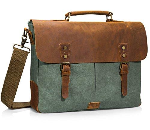 Estarer Unisex Vintage Umhängetasche Leder Canvas Laptop Schultertasche Grün