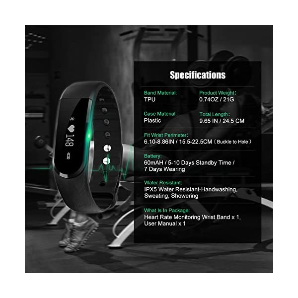 Fitness Tracker, Ritmo cardíaco inteligente actividad pulsera HR podómetro calorías deslizar pantalla táctil de… 6