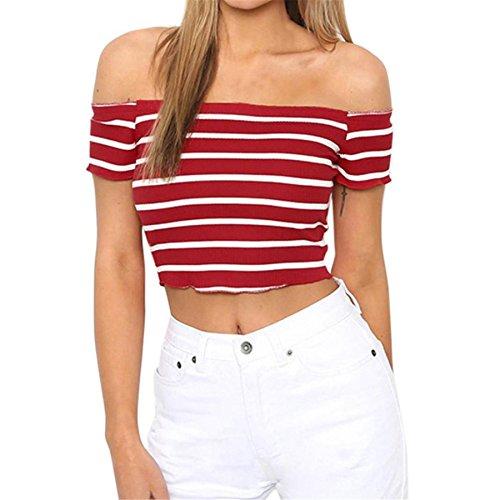 BURFLY Damen Streifen Weste Frauen Schulterfrei Kurzarm Bluse Kleidung Sommer Tops T-Shirt Mini Gestreifte Slash Hals T-Shirt (S, Rot)