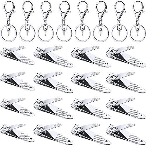 Nagelknipser Schlüsselanhänger Set, Bestehend aus 18 Stücke Edelstahl Fingernagelknipsern und 18 Stücke Tragbaren Stabilen Schlüsselbundhaken mit Ring für Männer und Frauen