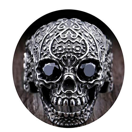 Amody Anillo gótico Cráneo con Ojos Negros Zirconia Negro Anillo de Acero Inoxidable para Hombre Tamaño 15