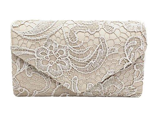 DNFC Damen Elegant Clutch Abendtasche mit langer Kette Handtasche Frauen Umhängetasche Spitze Tasche Party Hochzeit Kettentasche Clutch Tasche (Aprikose) (Spitzen-tasche)