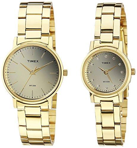 Timex Classics Analog Gold Dial Watch Set's Watch-TW00PR196