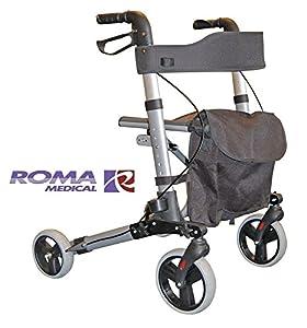 Roma City Walker Lightweight Folding Rollator 4 Wheel Walking Aid