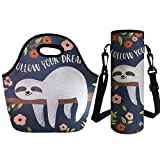 coloranimal Isolierte Lunch Tasche Cute Floral Faultier wiederverwendbar Neopren Kühltasche, damen, sloth Lunch Bag+Big Water Bottle Bag-2