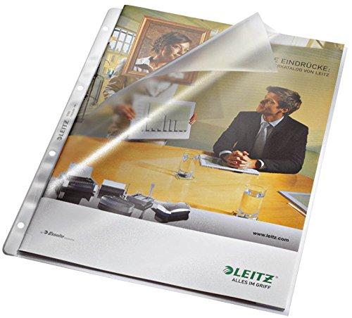 Preisvergleich Produktbild 3 x Prospekthüllen, oben und Lochseite offen - Multilochung, ohne Papiereinlage, genarbt 0,09 mm, A4