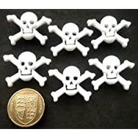 SALE White Skull & Crossbones Novelty Craft Buttons by Dress It Up