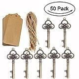 50 unidades de abrebotellas de boda rústico con diseño de esqueleto con 50 etiquetas de tarjeta de escolta y cordel para invitados, regalos de fiesta