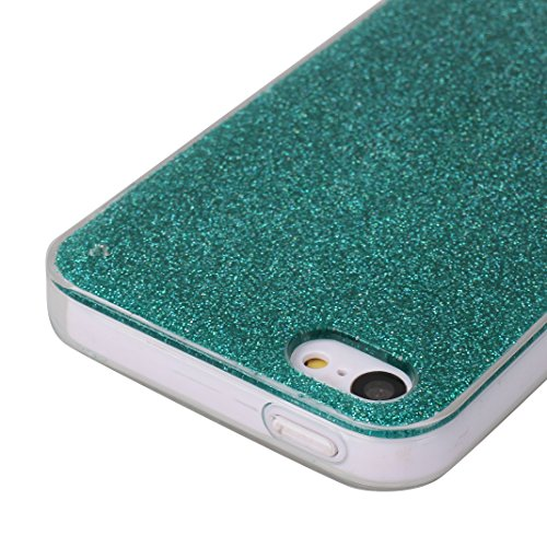 iPhone SE/5S/5 4.0 Zoll Glitter Case, iPhone SE Hülle Glitter, iPhone 5S Hülle Glitter, iPhone 5 Hülle Glitter, Moon mood® Kristall Sparkle Schutzhülle für Apple iPhone 5/5S/SE Ultra Thin Dünn Weich T Grün
