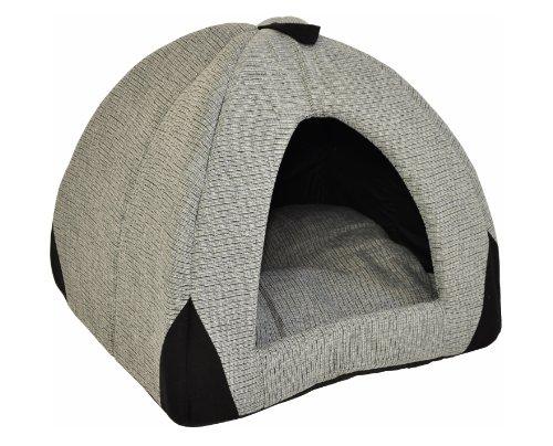 Hundehöhle / Katzenhöhle 'Woody' - 45 cm - grau / schwarz mit weichem, herausnehmbaren Schlafkissen