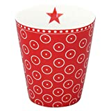 Krasilnikoff HM390 Mug/Becher/Tasse - rot - weiße Punkte - Porzellan - 330 ml