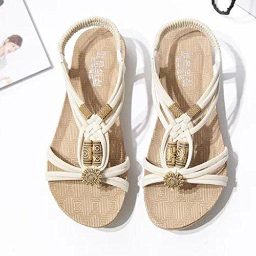 Transer® Damen Sandalen Braun Beige Schwarz Künstliches PU+Gummi Webart Gürtel Wulstig Sandalen (Bitte achten Sie auf die Größentabelle. Bitte eine Nummer größer bestellen) Beige