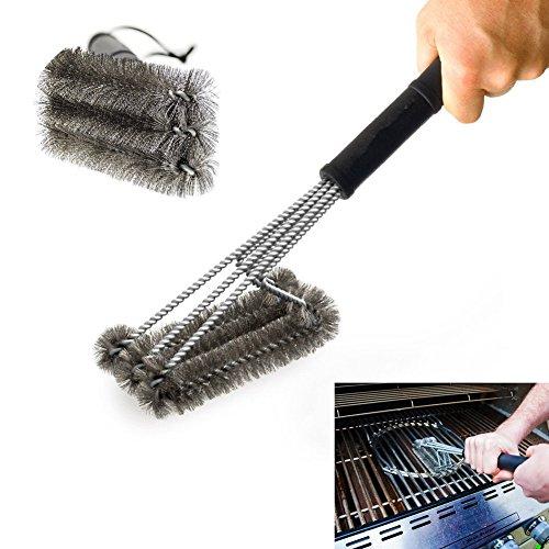 PePeng Spazzola triangolare di metallo per pulizia griglia del barbecue, 45,7cm, setole in acciaio inox a 3 rami, resistente, per una pulizia più facile ed efficace, Acciaio inossidabile, 3-Branch