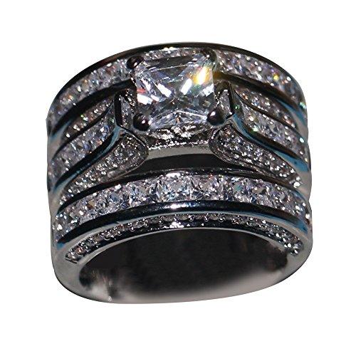 NimbleMinLki 3-in-1 Fashion Verlobungsring Ehering Fingerring Frauen Party Bankett Schmuck, weiß, 6 US
