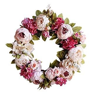 Xploit 40CM Flor de simulación Hecha a Mano Guirnalda de peonía Blanca Boda Decoración de la Pared de la casa Corona Decoración Floral