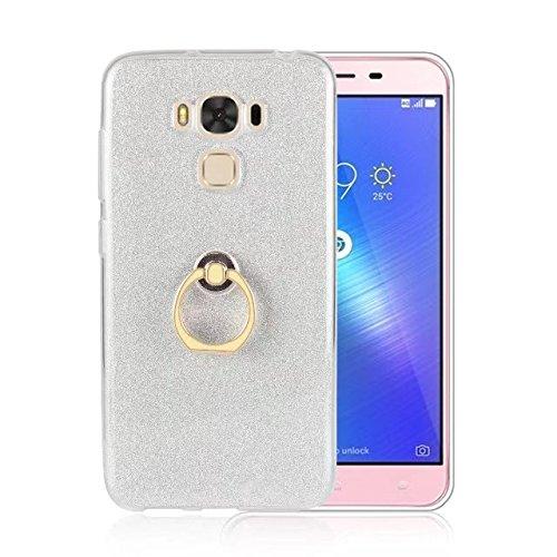 Luxus Bling Sparkle Style Case, Soft TPU [Silikon] Flexible Glitter Rückentasche [Anti Scratch] mit Fingerring Stand für Asus ZC553KL ZenFone 3 MAX ( Color : Blue ) White