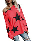 Minetom Damen Mädchen Mode Trägerlose Sterne Drucken Loose Lange Sweatshirt Fledermausärmel Pullover Oberteile Tops Rot DE 46