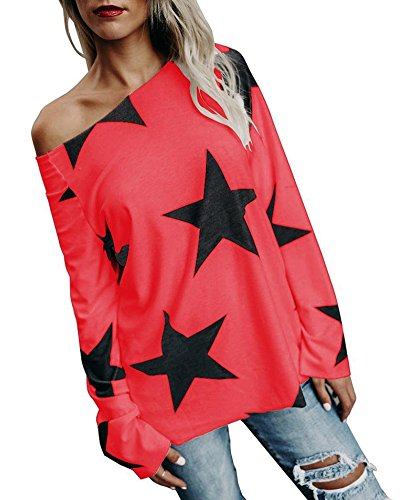 Minetom donne ragazza senza spalline maglietta maglie girocollo manica lunga maniche stampate stella maglia camicie t shirt blouse tops qualità normale rosso it 42
