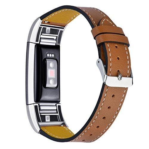 KZKR Herren Uhrenarmband Leder Faltschließe Braun 200mm B044-BROWN-S - Faltschließe Fitbit-armband